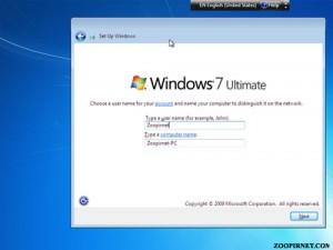 نام کاربری در ویندوز7