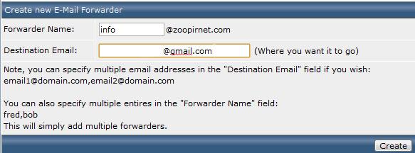 درست کردن Email Forwarder